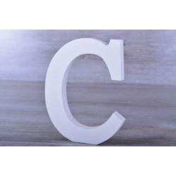 """Litery ozdobne, drewno 16 cm """"C"""" - biały, 1 szt."""