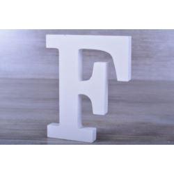 """Litery ozdobne, drewno 16 cm """"F"""" - biały, 1 szt."""