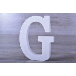 """Litery ozdobne, drewno 16 cm """"G"""" - biały, 1 szt."""