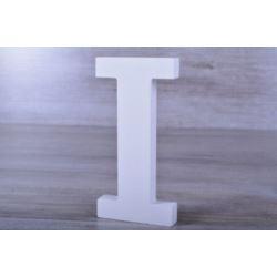 """Litery ozdobne, drewno 16 cm """"I"""" - biały, 1 szt."""