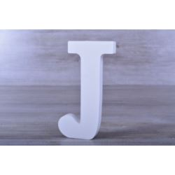 """Litery ozdobne, drewno 16 cm """"J"""" - biały, 1 szt."""