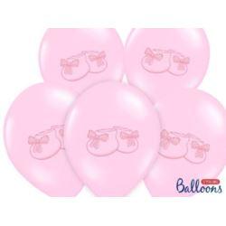 """balony, balony na hel, dekoracje balonowe, balony Łódź, balony z nadrukiem, Balon 14"""" Bucik,pastel Baby pink 6 szt."""
