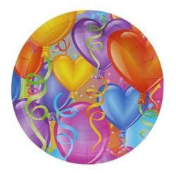 """balony, balony na hel, dekoracje balonowe, balony Łódź, balony z nadrukiem, Talerze papierowe 23 cm """"Baloniki"""" 6szt."""