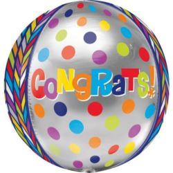 "Balon, foliowy kula ""Congrats!"" Orb 38x40 cm 1 szt"