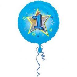 """Balon foliowy urodzinowy """"1"""" - niebieski 43 cm"""