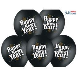 Balony 30 cm, Happy New Year,M Black 6 szt.