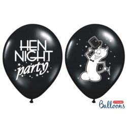 Balony 30cm, Hen night party, Pastel Black, 50 szt