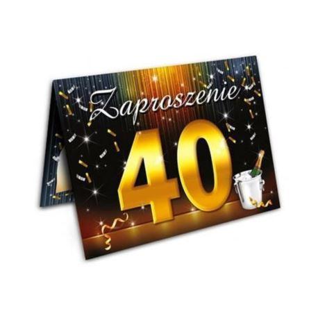 Zaproszenie 40-ka z szampanem 10 szt.