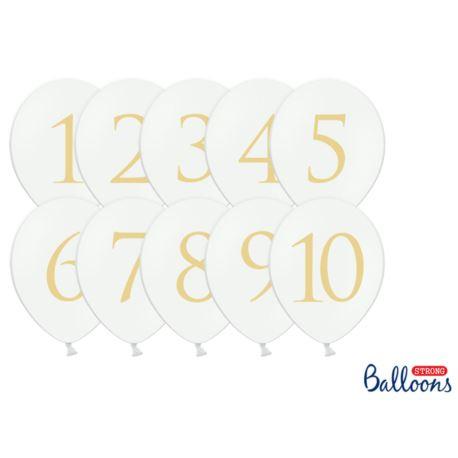 balony, balony na hel, dekoracje balonowe, balony Łódź, balony z nadrukiem Balony 30cm, Cyfry, mix, Pastel Pure White