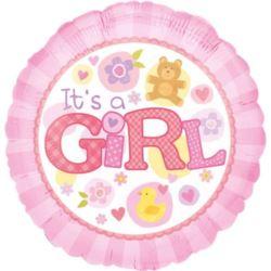 balony, balony na hel, dekoracje balonowe, balony Łódź, balony z nadrukiem, Balony foliowe narodziny dziecka - dziewczynka