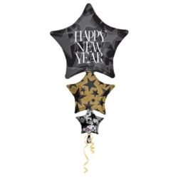 Balon, foliowy XL Happy New Year 107x64 cm