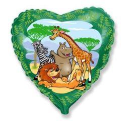 """Balon, foliowy 18"""" FX - """"Zwierzęta z dżungli"""""""