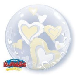 """balony, balony na hel, dekoracje balonowe, balony Łódź, balony z nadrukiem, Balon, foliowy 24"""" QL Bubble Pod.""""Serca Ślubne w b"""