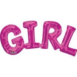"""balony, balony na hel, dekoracje balonowe, balony Łódź, balony z nadrukiem, Balon, foliowy napis """"Girl"""" c.różowy 55x25 cm"""