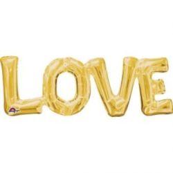 """Balon, foliowy """"LOVE"""" złoty 63x22 cm"""