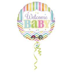 """balony, balony na hel, dekoracje balonowe, balony Łódź, balony z nadrukiem, Balon foliowy z napisem """"Welcome Baby"""" 43 cm"""