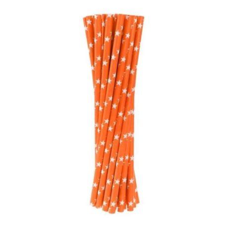 Rurki(słomki) pap.pomarańczowe w gwiazdki