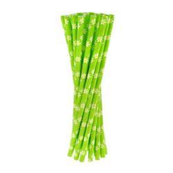 """Rurki(słomki) pap.zielone """"Stokrotki"""",6x197mm/24"""