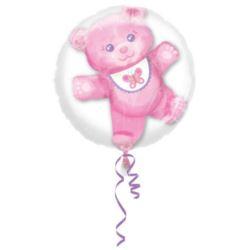 balony, balony na hel, dekoracje balonowe, balony Łódź, balony z nadrukiem, Balon foliowy w balonie Miś - różowy 60x60 cm