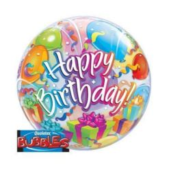 """balony, balony na hel, dekoracje balonowe, balony Łódź, balony z nadrukiem, Balon, foliowy 22"""" QL Bubble Poj.""""Happy Birthday"""""""