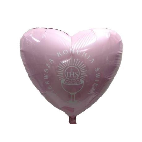 "Balon, foliowy 18"" FX - ""Serce"" j.różowe Komunia"