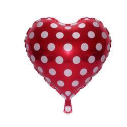 """Balon foliowy 18"""" """"Serce w groszki"""" - czerwone"""