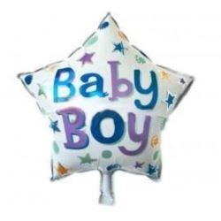 """balony, balony na hel, dekoracje balonowe, balony Łódź, balony z nadrukiem, Balon foliowy Gwiazdka Baby Boy- niebieski 18"""""""