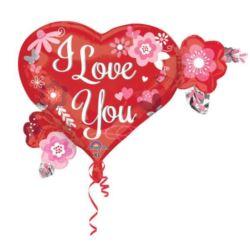 """Balon foliowy """"I love you"""" z kwiatkami"""