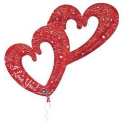 Balon, foliowy podwójne serce czerwone 134x91 cm