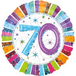 "Balon, foliowy 18"" CIR ""70-te urodziny multicolor"