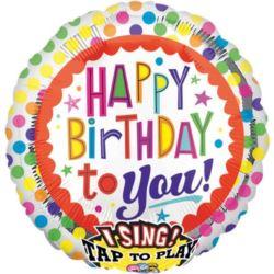 Balon foliowy grający Happy Birthday 71x71 cm