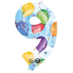 """Balon, foliowy Cyfra """"9"""" multicolor 63x86 cm"""