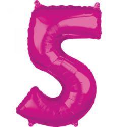 "Balon foliowy Cyfra ""5"" Róż 66cm"