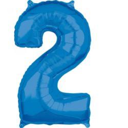 """Balon foliowy Cyfra """"2"""" Niebieska 66cm"""