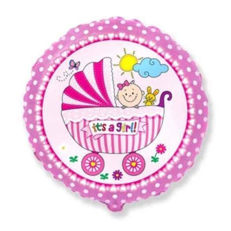 """Balon foliowy 18"""" EX - """"Wózek dla dziewczynki"""" róż"""