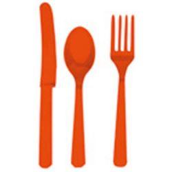 Sztućce plastikowe, pomarańcz 24 szt.