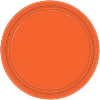 Talerze papierowe 17,7 cm - pomarańczowy 8 szt.