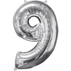 """Balon foliowy cyfra """"9"""" srebro 43x66 cm"""
