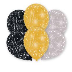 Balony lateksowe HB złoty,srebrny, czarny 6 szt