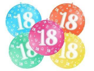 "Balon 1m, Pastel Mix ""18th. Birthday"", 5 szt."
