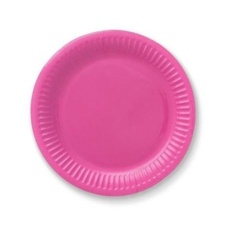 Talerzyki papierowe 18 cm, różowe, 6 szt.
