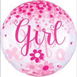 balony, balony na hel, dekoracje balonowe, balony Łódź, balony z nadrukiem, Jumbo Baby Girl, Konfetti-balon foliowy, P45 ,zapa
