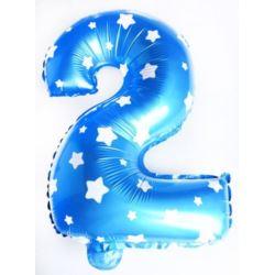 """Balon foliowy cyfra """"2"""" - niebieska w gwiazdki"""