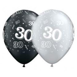 "Balon QL 11"" znadr.""30"" pastel czarny, srebrny"