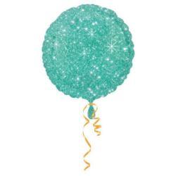 balony, balony na hel, dekoracje balonowe, balony Łódź, balony z nadrukiem, Balon foliowy okrągły zielony gwiazdki 43 cm