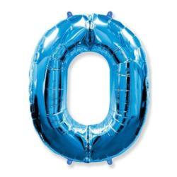 """Balon foliowy FX - """"Number 0"""" niebieski,95 cm"""