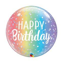 balony, balony na hel, dekoracje balonowe, balony Łódź, balony z nadrukiem, Balon foliowy 22 cale QL Bubble Poj. Happy Birthda