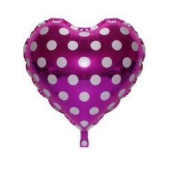 """Balon foliowy 18"""" """"Serce w groszki"""" - różowe"""