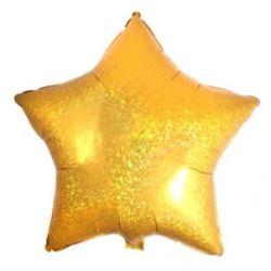 """Balon foliowy gwiazda 18"""" - złoto, holo 1 szt."""