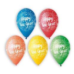 """Balony Premium """"Happy New Year"""", 5 kolorów,12"""""""